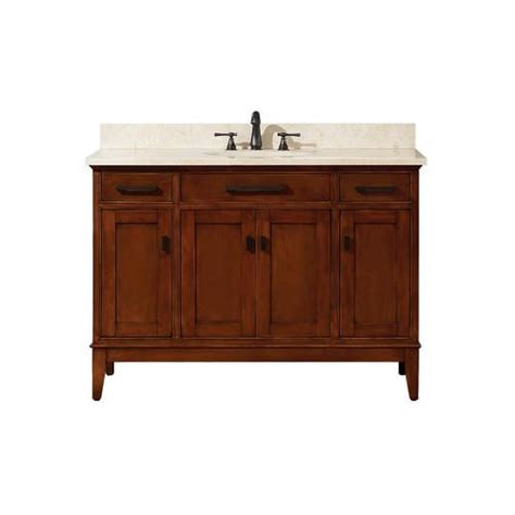 """At american standard it all begins with our unmatched legacy of quality and innovation that has lasted for more than 140 years.we provide the style and performance that fit perfectly into the life, whatever that may be. Azzuri Hudson 48"""" Tobacco Finish Vanity at Menards® 