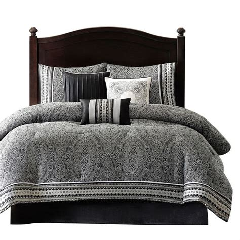 queen size  piece comforter set  black white grey