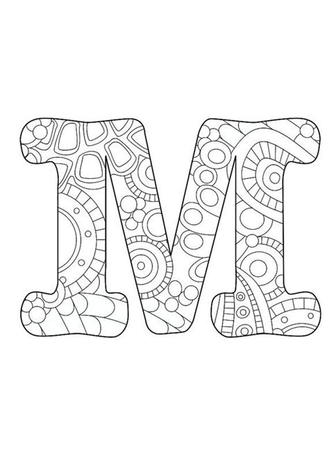 letter  initial monogram funky color coloring page colored pencils alphabet coloring
