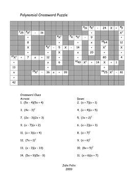 polynomial crossword puzzle by felix teachers pay teachers