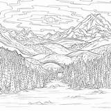 Olympic Coloring Mountain Debbie Macomber Mountains Detailed Adult Vista Printable Animal Landscape Ross Bob sketch template