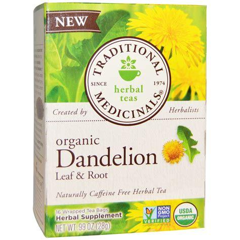 root tea traditional medicinals organic dandelion leaf root tea caffeine free 16 wrapped tea bags