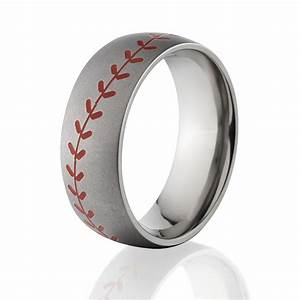 red stitch baseball ring titanium baseball wedding band With little wedding rings