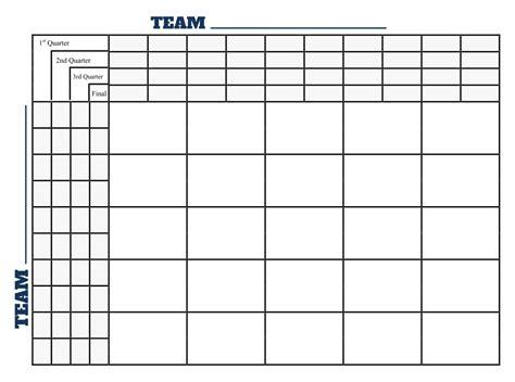printable  square football pool grid printableecom
