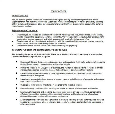 police officer job description templates  sample