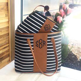 black  white striped monogrammed tote bag  ditty bag