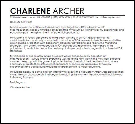 regulatory affairs associate cover letter sle livecareer