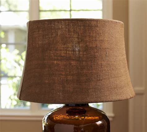 espresso burlap tapered drum l shade pottery barn