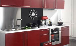 idee deco cuisine rouge et noir With idee deco cuisine avec cuisine rouge et noir