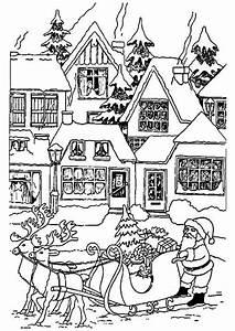 coloriage noel traineau village sur hugolescargotcom With dessin de maison facile 4 pate 224 modeler maison facile