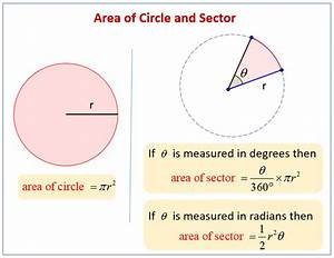 Area Of Sectors  Examples  Solutions  Videos  Worksheets