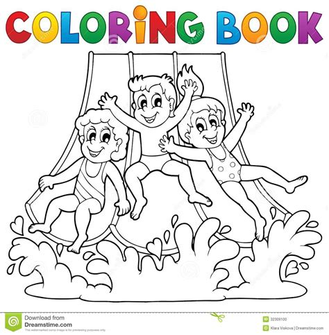 coloring book aquapark theme  stock photo image