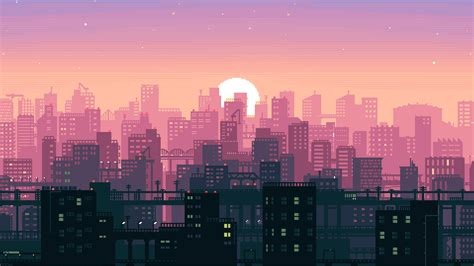 Animated City Wallpaper - 8 bit pixel city hd artist 4k wallpapers images