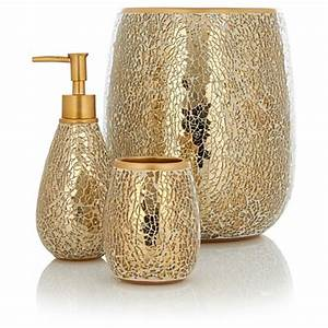 George home accessories gold sparkle bathroom for Beekman home bathroom accessories