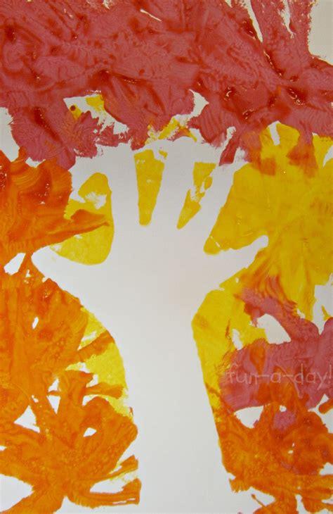 fall hand print art exploring negative space  kids