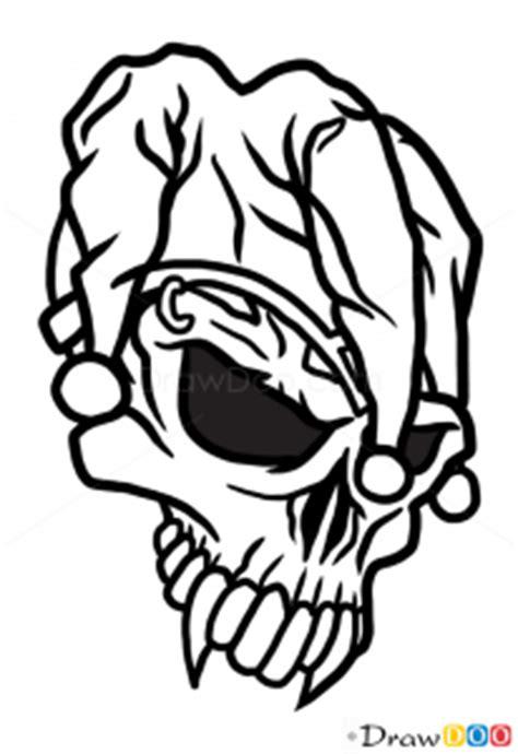 draw jester skull tattoo skulls
