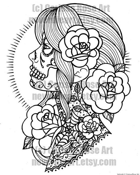 Digital Download Print Your Own Coloring Book Outline Page - Sugar Skull Girl Tattoo Flash by