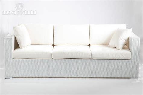Divano 3 Posti Carpi White In Rattan Sintetico
