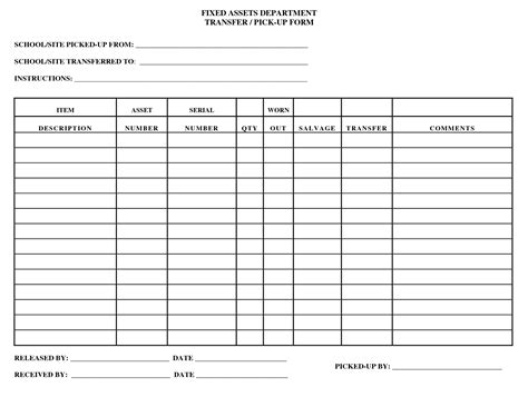 Things That Need Fixed Template by 10 Best Images Of Asset Inventory Form Fixed Asset