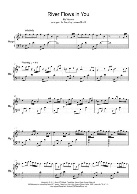 Free sheet music preview of river flows in you, (intermediate) for piano solo by yiruma. River Flows In You Harp Version Music Sheet Download - TopMusicSheet.com