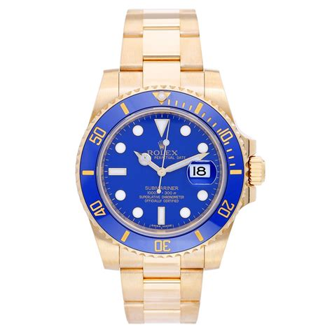 Rolex Submariner 18k Yellow Gold Men's Watch Blue Dial 116618