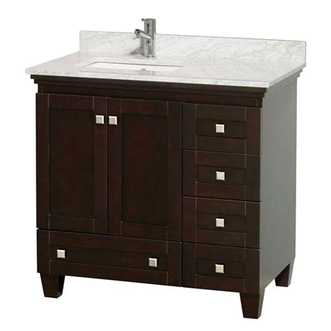 white marble vanity top wyndham collection acclaim 36 in vanity in espresso with
