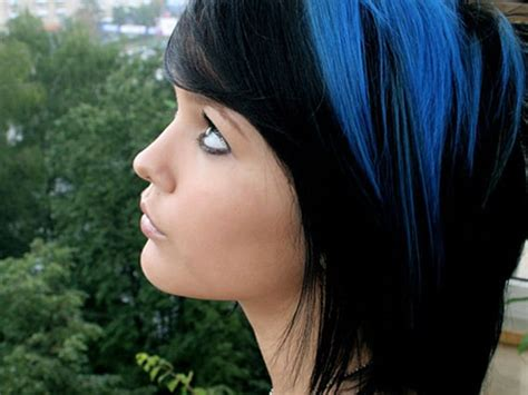 Hairstyles With And Black by Top 25 Blue Hair Streaks Ideas For Sheideas