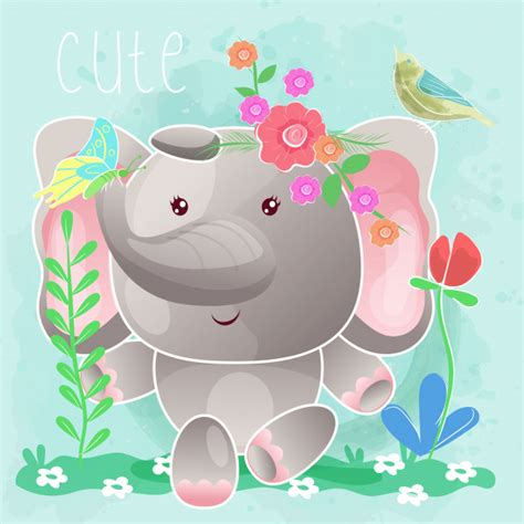 Sign up for our templates and tutorials newsletter and get this svg set for free along with lots of other fun projects Baby elephant sitting in the grass. vector   Premium Vector