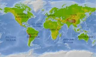 World Physical Map Atlantic Ocean