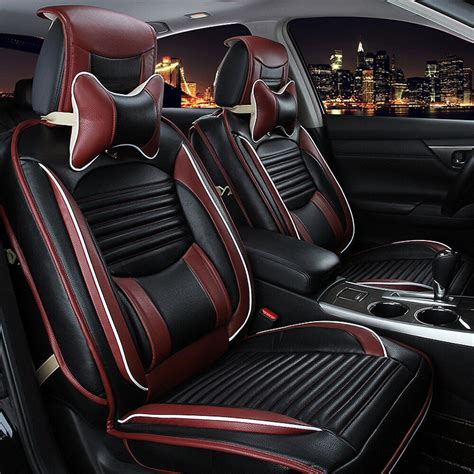 Auto Seat Upholstery by Pu Leather Car Seat Cover Cushion Front Rear Set Fit For