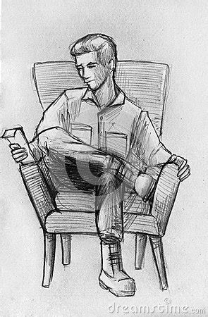 Pencil Sketch Of A Man In Armchair Stock Illustration