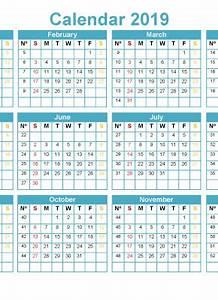 January Calendar Numbers Printable 2019 12 Month Calendar Template Pdf Word Excel