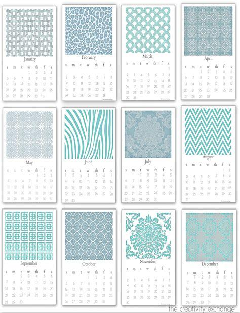 printable  chic desktop calendar