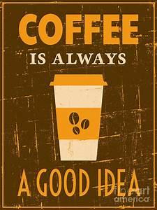 Retro Coffee Poster Digital Art by Iveta Angelova