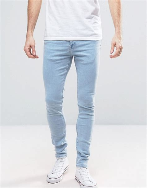 light jeans mens new look new look super skinny jeans in light wash blue