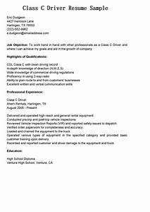 Driver Resume Example Driver Resumes Class C Driver Resume Sample