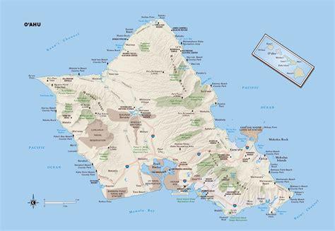 large oahu island maps     print high