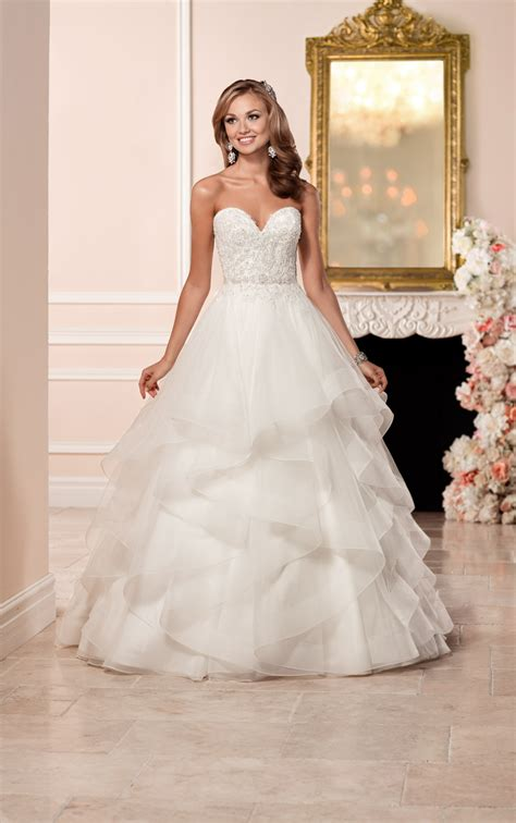 a line wedding dress with lace bodice stella york