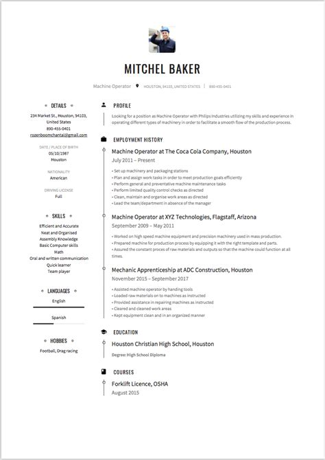 machine operator resume sle best resumes