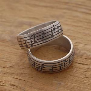music note wedding ring set his and her sterling silver With music wedding ring