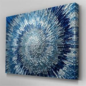 ab283 blue silver swirl design canvas wall art ready to With blue wall decor