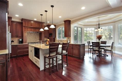 Kitchen Floor Ideas With Cherry Cabinets by 43 Quot New And Spacious Quot Darker Wood Kitchen Designs Layouts