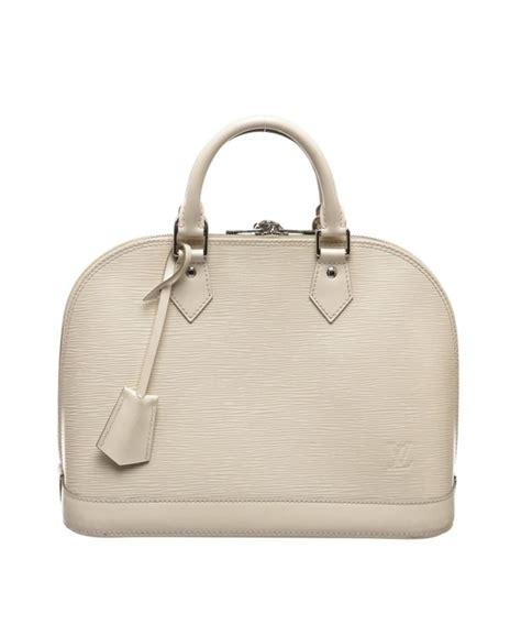 louis vuitton pre owned louis vuitton  white pearl vernis monogram alma pm handbag