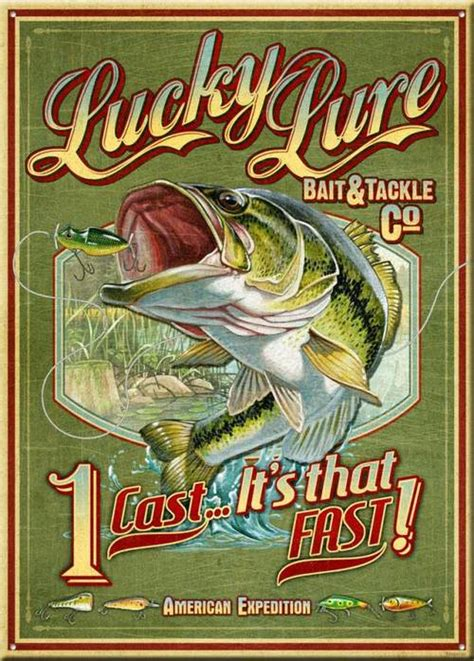 lucky lure bait tackle vintage tin sign