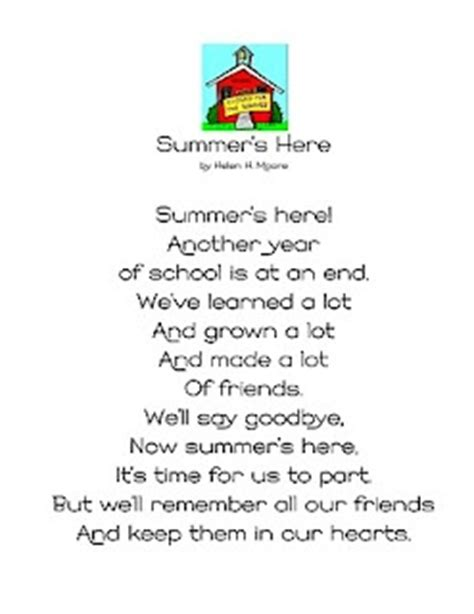 quot summer s here quot end of year poem and poem for every 754 | 04da2c84c6e4d2c73d9df7b29c51c1e5 preschool poems kindergarten poems