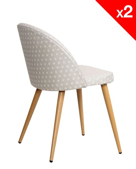 chaise cocktail scandinave chaise scandinave vintage tissu étoiles lot de 2 giza