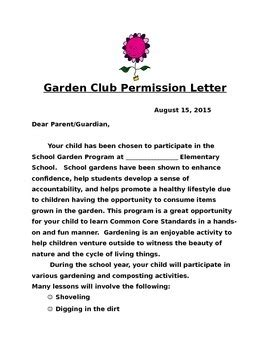 Letter What Is by Garden Club Permission Letter By The Grand Green Garden Tpt