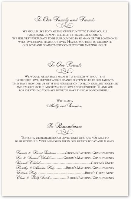 unique wedding program wording   barach wedding