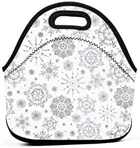 amazoncom uuiuou lunch bag  kids christmas snowflakes white lunch bag waterproof insulated