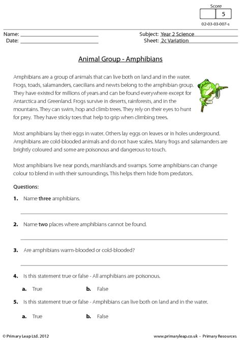 Reading comprehension - Amphibians